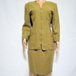Oleg Cassini Olive Green Skirt Suit Women Size 14